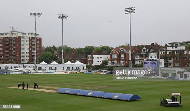 General view of the 1st Central County Ground during a rain delay prior to the Royal London One Day Cup match between Sussex and Middlesex at The 1st...