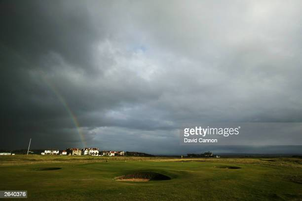 General view of the 1st green on a stormy evening taken during a photoshoot held on October 10, 2003 at the Royal Troon Golf Club, venue for the 2004...