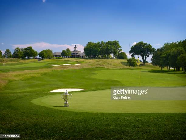 General view of the 1st hole with the Rodman Wanamaker Trophy at the future site of the 96th PGA Championship at Valhalla Golf Club on October 31...