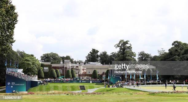 General view of the 1st tee and practice putting area during Day Four of The BMW PGA Championship at Wentworth Golf Club on September 12, 2021 in...