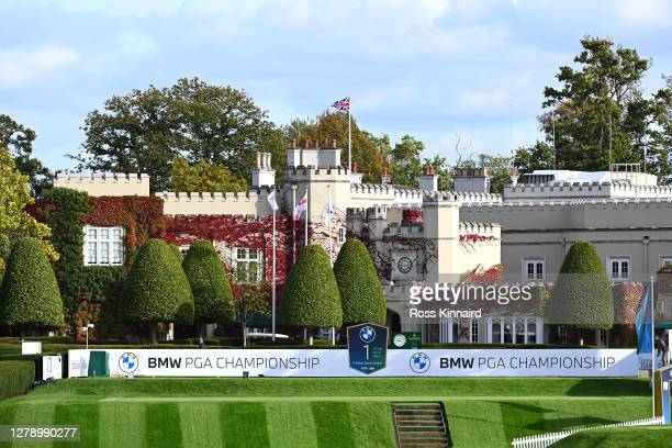 General view of the 1st tee and the clubhouse during a practice round ahead of the BMW PGA Championship at Wentworth Golf Club on October 07, 2020 in...
