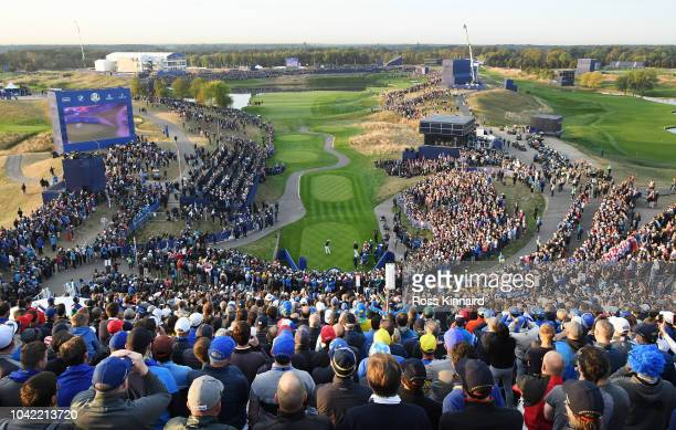 A general view of the 1st tee as Rickie Fowler of the United States tees off during the morning fourball matches of the 2018 Ryder Cup at Le Golf...