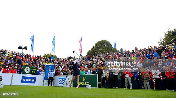General view of the 1st tee during the Sundays single matches in the 2015 Solheim Cup at St LeonRot Golf Club on September 20 2015 in Sankt LeonRot...
