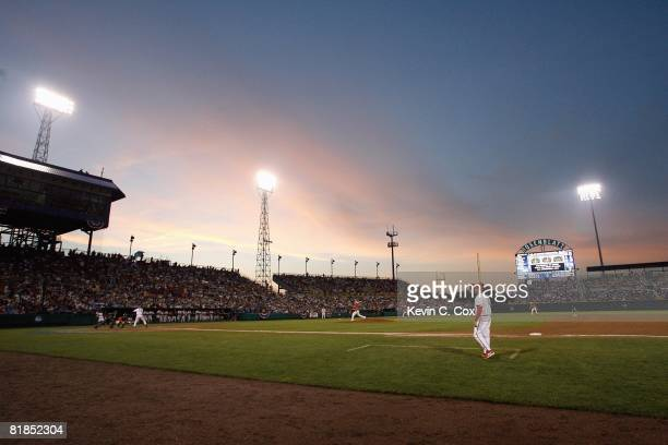 General view of the 2008 Men's College World Series Game 2 between the Fresno State Bulldogs and the Georgia Bulldogs on June 24, 2008 at Rosenblatt...