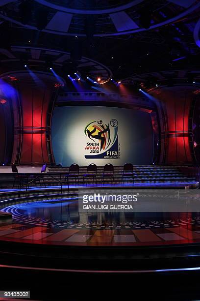 General view of the 2010 FIFA Soccer World Cup Draw stage is seen on November 26, 2009 during a preview for Journalists at the Cape Town...