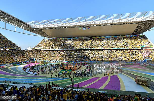 A general view of the 2014 FIFA World Cup Brazil Opening Ceremony at Arena de Sao Paulo on June 12 2014 in Sao Paulo Brazil