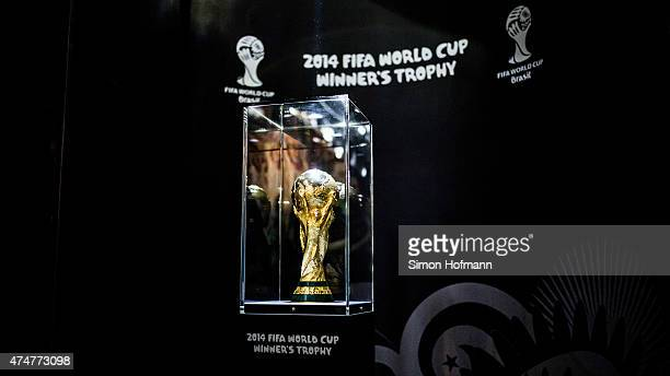 A general view of the 2014 FIFA world cup winner's trophy during the DFB Ehrenrunde KickOff Event on May 26 2015 in Frankfurt am Main Germany
