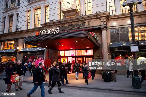General view of the 2014 holiday shopping windows at Macy's department store on December 4 2014 in New York City