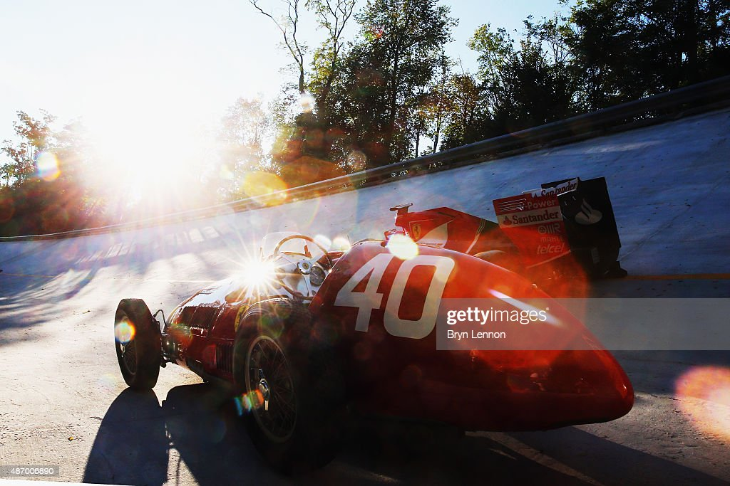 A general view of the 2015 and 1951 cars on the old Monza banking after qualifying for the Formula One Grand Prix of Italy at Autodromo di Monza on September 5, 2015 in Monza, Italy.