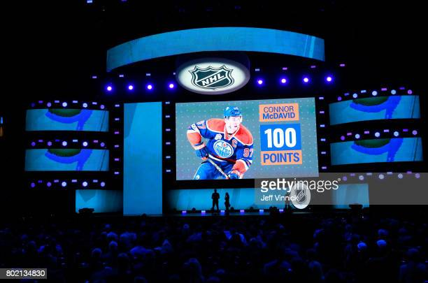 A general view of the 201617 season points of Connor McDavid of the Edmonton Oilers is displayed on the big screen during the 2017 NHL Awards...