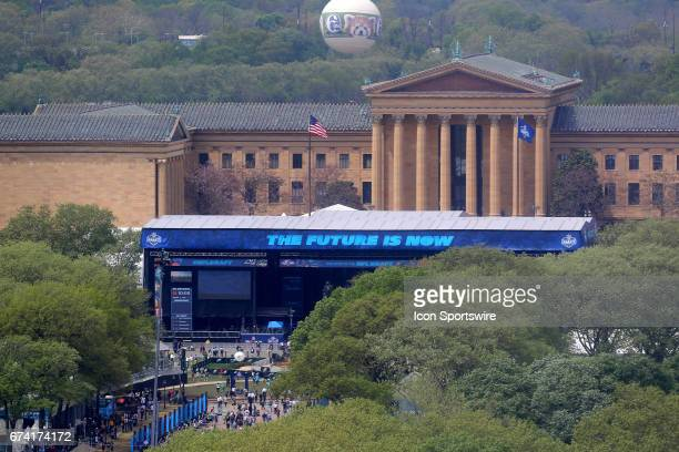 General view of the 2017 NFL Draft Theater in front of the Philadelphia Art Museum on April 27 2017 in Philadelphia PA