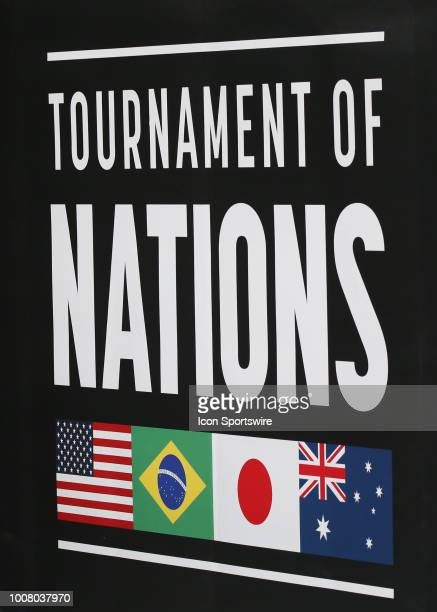 A general view of the 2018 Tournament of Nations logo before a women's soccer match between Brazil and Australia on July 26 2018 at Children's Mercy...
