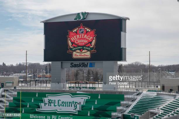 General view of the 2019 Heritage Classic logo displayed during the press conference held at Mosaic Stadium on March 15, 2019 in Regina,...