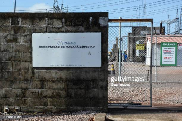 General view of the 230/69 kV Macapa substation during a blackout due to a fire on November 8, 2020 in Macapa, Brazil. The substation located in the...