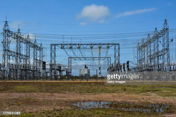 General view of the 230/69 kV Macapa substation during a blackout due to a fire on November 08, 2020 in Macapa, Brazil. The substation located in the...