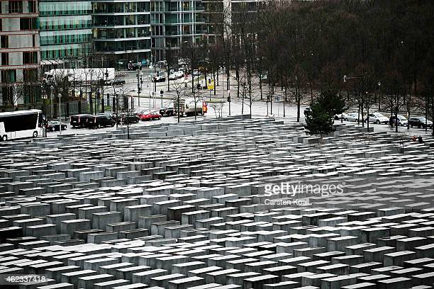 General view of the 2711 polished marble blocks or 'stellae' can be seen at the Memorial to the Murdered Jews of Europe also called the Holocaust...