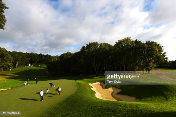 General view of the 2nd hole green during a practice round ahead of the BMW PGA Championship at Wentworth Golf Club on October 06, 2020 in Virginia...