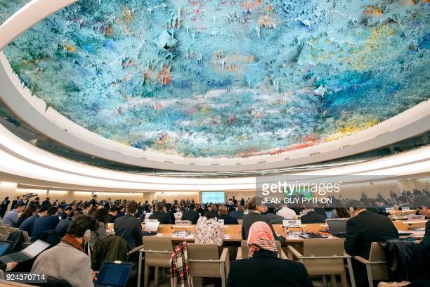General View of the 37th session of the United Nations Human Rights Council on February 26 2018 in Geneva The United Nations secretarygeneral on...