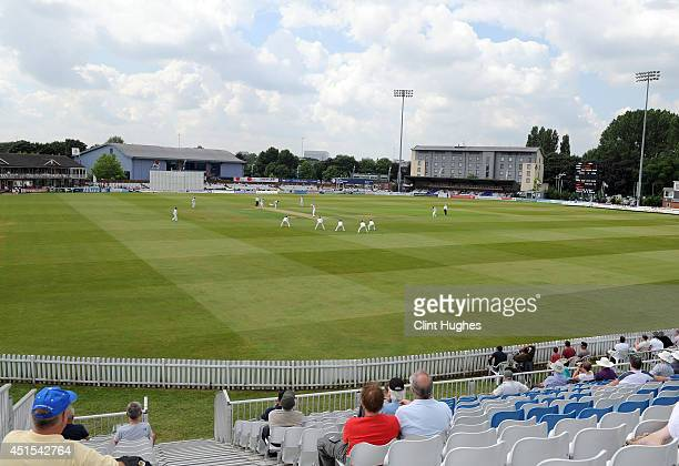 A general view of the 3aaa County Ground as play gets under way during day one of the tour match between Derbyshire and India at The 3aaa County...