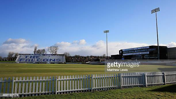 A general view of The 3aaa County Ground during a Derbyshire CCC Photocall at The 3aaa County Ground on March 31 2015 in Derby England