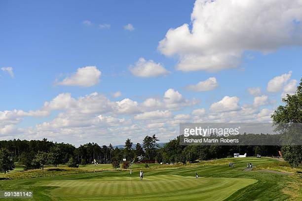 General View of the 3rd hole during a proam round ahead of the DD REAL Czech Masters at Albatross Golf Resort on August 17 2016 in Prague Czech...
