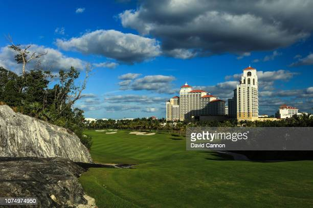 A general view of the 405 yards par 4 13th hole at Royal Blue The Golf Club at Baha Mar on November 29 2018 in Nassau Bahamas