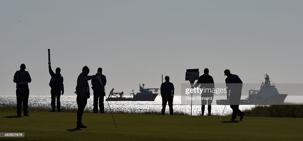A general view of the 4th green during the third round of the Saltire Energy Paul Lawrie Matchplay at Murcar Links Golf Course on August 1, 2015 in Aberdeen, Scotland.