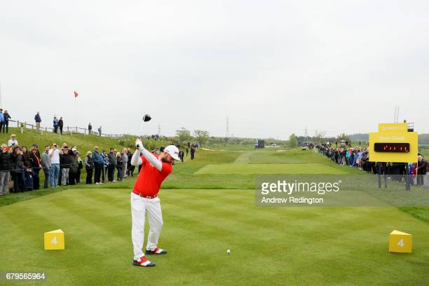 General View of the 4th hole and shot clock as Andy Sullivan of England tees off during the Group A match between England and India during day one of...