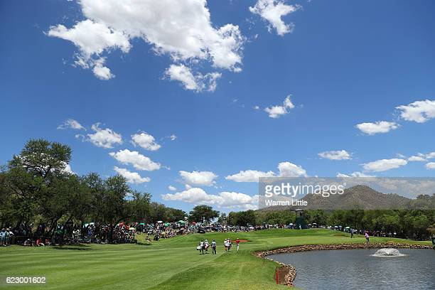 General View of the 4th hole during day four of the Nedbank Golf Challenge at Gary Player CC on November 13 2016 in Sun City South Africa