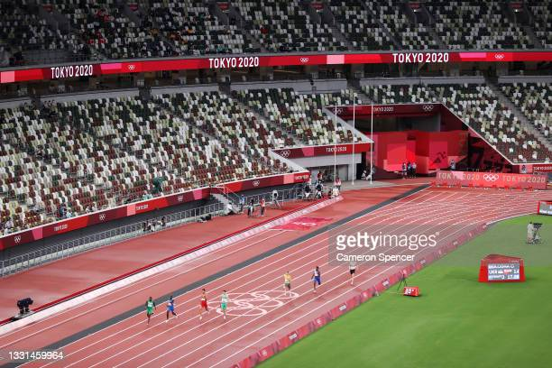 General view of the 4x400 Relay Mixed Round 1 on day seven of the Tokyo 2020 Olympic Games at Olympic Stadium on July 30, 2021 in Tokyo, Japan.