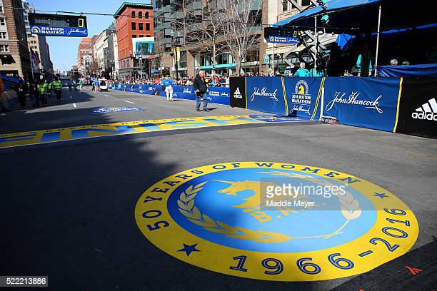 A general view of the '50 Years of Women' logo at the finish line during the 120th Boston Marathon on April 18 2016 in Boston Massachusetts