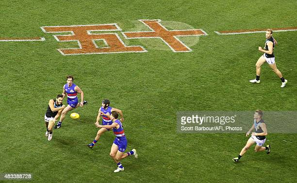 General view of the 50m lines on the ground marked in Mandarin during the AFL Multicultural Round during the round 19 AFL match between the Western...