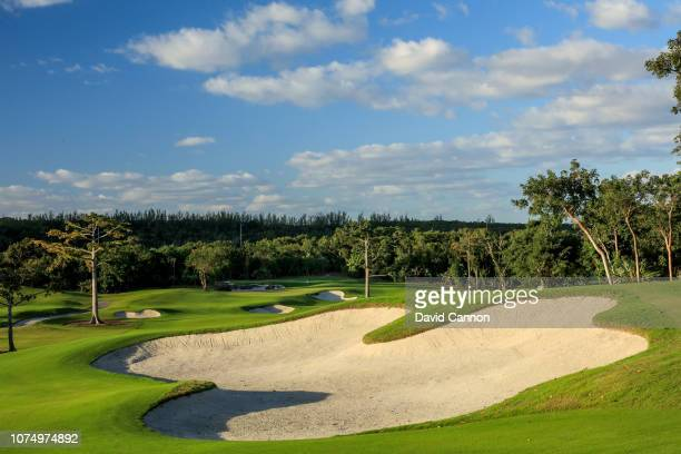 A general view of the 568 yards par 5 13th hole at Royal Blue The Golf Club at Baha Mar on November 29 2018 in Nassau Bahamas