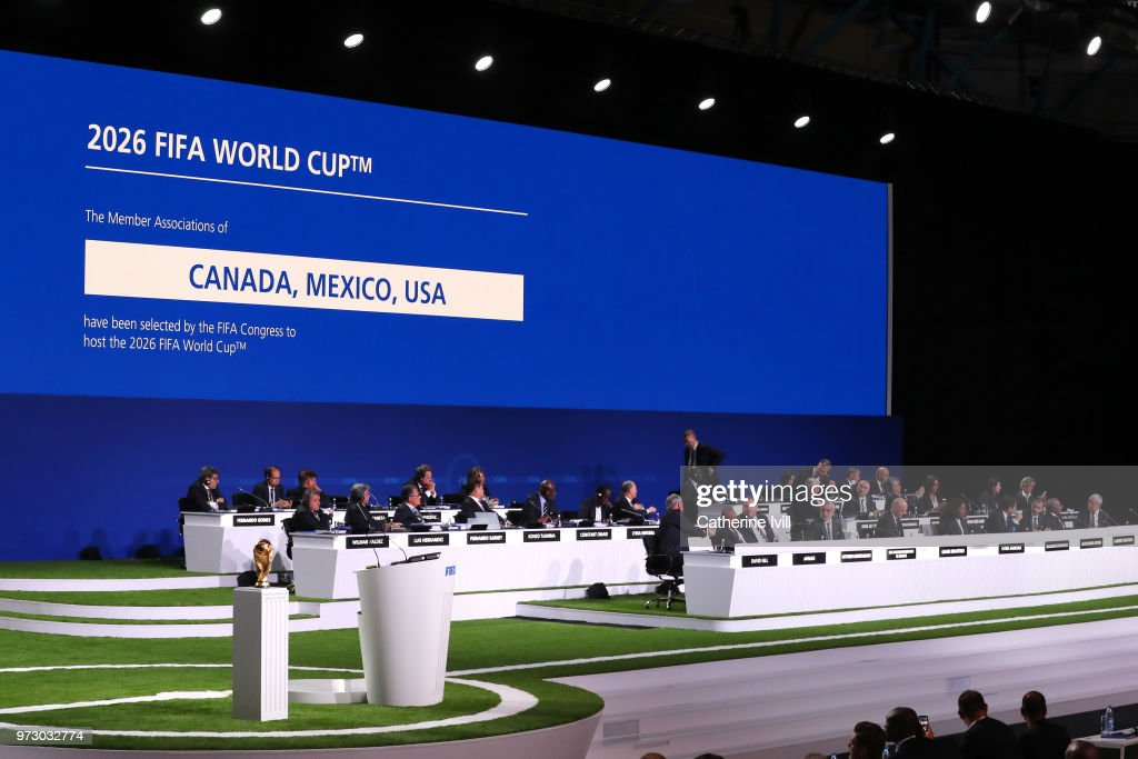 General View of the 68th FIFA Congress after the announcement of the host for the 2026 FIFA World Cup went to United 2026 bid (Canada-Mexico-USA) at Moscow's Expocentre on June 13, 2018 in Moscow, Russia.