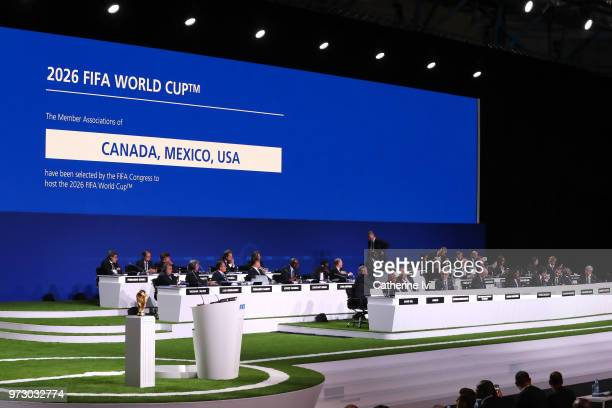 General View of the 68th FIFA Congress after the announcement of the host for the 2026 FIFA World Cup went to United 2026 bid at Moscow's Expocentre...