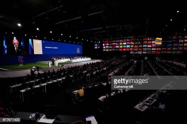 A general view of the 68th FIFA Congress as FIFA President Gianni Infantino speaks at the Moscow Expocentre on June 13 2018 in Moscow Russia