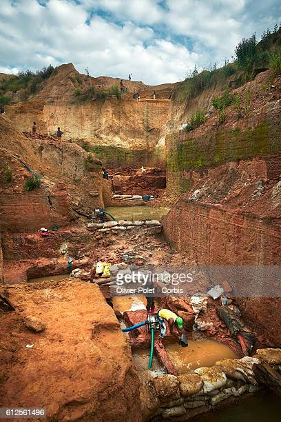 A general view of the 7/7 diamond mining site with a clear view of the various concessions separated by earth filled bags as miners are busy pumping...