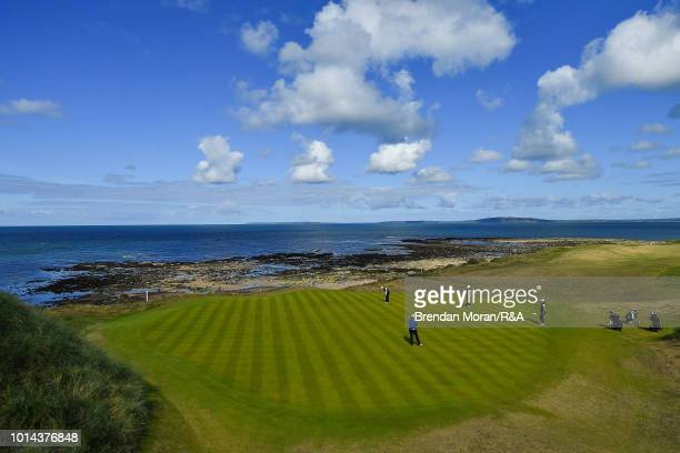 General view of the 7th green during the Junior Foursomes match at the Ladies' and Girls' Home Internationals at Ballybunion Golf Club on August 10,...