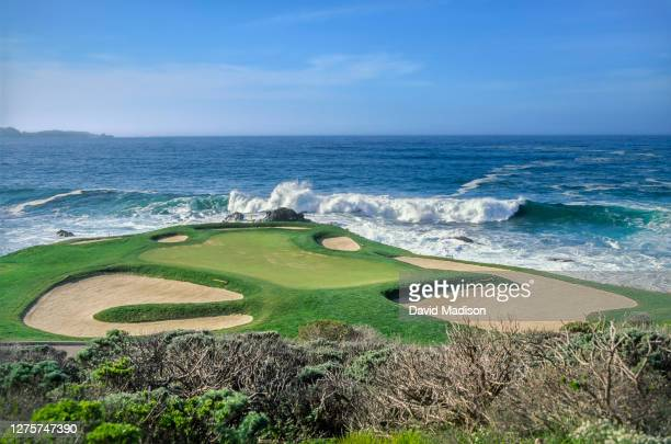 General view of the 7th hole at Pebble Beach Golf Links during the 1991 AT&T Pebble Beach National Pro-Am held during February 1991 in Pebble Beach,...