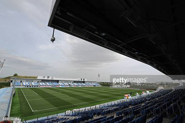 A general view of the 8000 capacity Alfredo di Stefano stadium at Real Madrid's Valdebebas Ciudad del Real Madrid training grounds on May 24 2016 in...