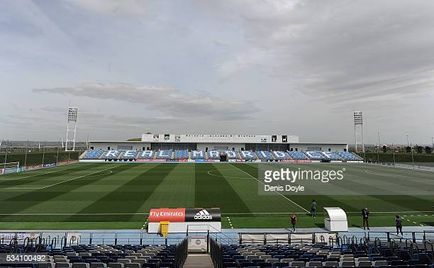 General view of the 8,000 capacity Alfredo di Stefano stadium at Real Madrid's Valdebebas Ciudad del Real Madrid training grounds on May 24, 2016 in...