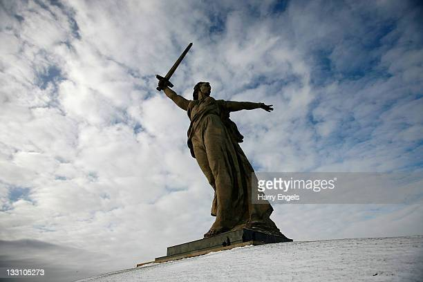 A general view of the 85 metre tall statue The Motherland is Calling which stands atop Mamayev Kurgan on November 16 2011 in Volgograd Russia...