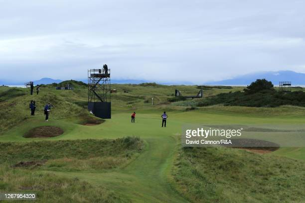 General view of the 8th green as MomokoUeda of Japan plays a putt during Day Four of the 2020 AIG Women's Open at Royal Troon on August 23 2020 in...