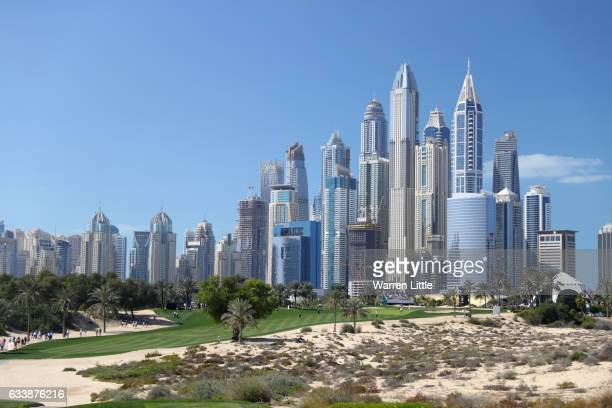 General View of the 8th hole during the final round of the Omega Dubai Desert Classic at Emirates Golf Club on February 5 2017 in Dubai United Arab...
