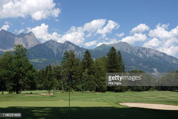 General view of the 8th hole during the first round of the Swiss Seniors Open played at Golf Club Bad Ragaz on July 05, 2019 in Bad Ragaz,...