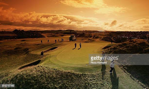 General View of the 8th hole 'The postage stamp' as John Daly of USA walks off the green during the second round of the 133rd Open Championship at...