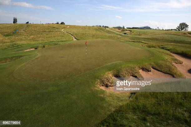 A general view of the 9th green during a practice round for the 117th US Open at Erin Hills in Erin Wisconsin