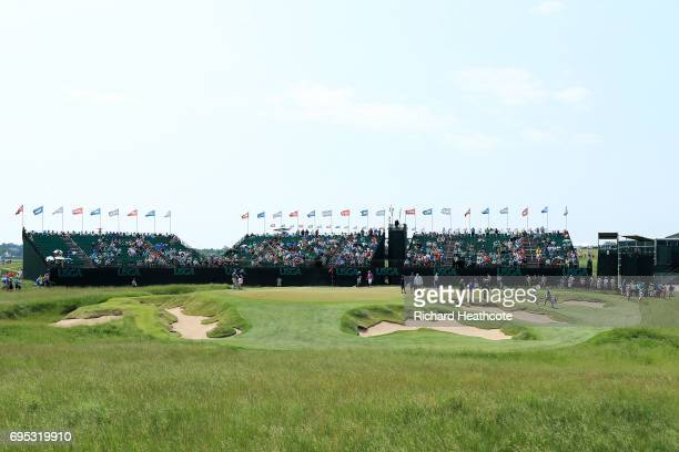 A general view of the 9th green during a practice round prior to the 2017 US Open at Erin Hills on June 12 2017 in Hartford Wisconsin