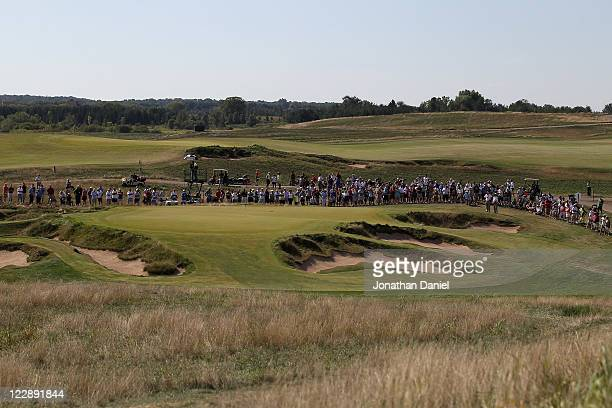 A general view of the 9th green during the US Amateur Championship at Erin Hills Golf Course on August 27 2011 in Erin Wisconsin