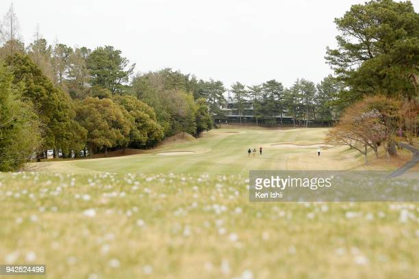 A general view of the 9th hole during the final round of the Hanasaka Ladies Yanmar Golf Tournament at Biwako Country Club on April 6 2018 in Ritto...
